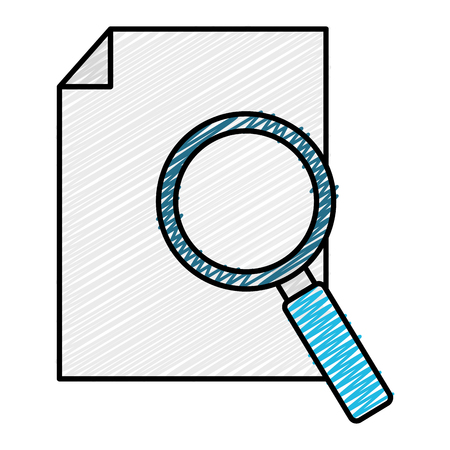 paper document with magnifying glass vector illustration design Çizim