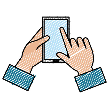 Hand with smartphone device vector illustration design Illustration