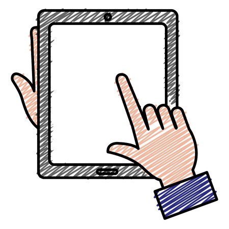 Hands with tablet device isolated icon vector illustration design