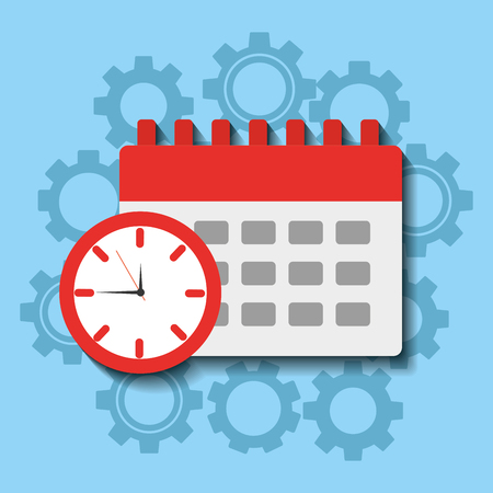 Time clock calendar work planning vector illsutration 向量圖像