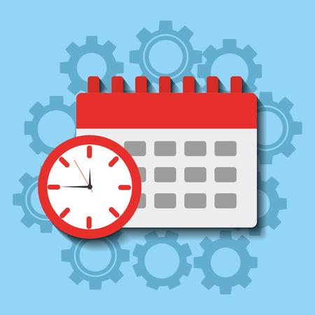 Time clock calendar work planning vector illsutration Ilustração