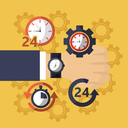 손목 시계 시계 비즈니스 배달 작업 벡터 일러스트와 함께