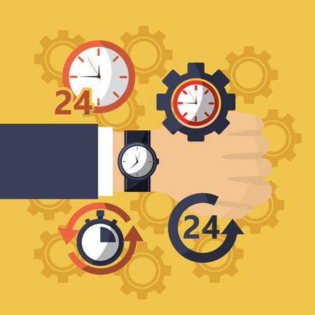hand with watch clock business delivery work vector illustration