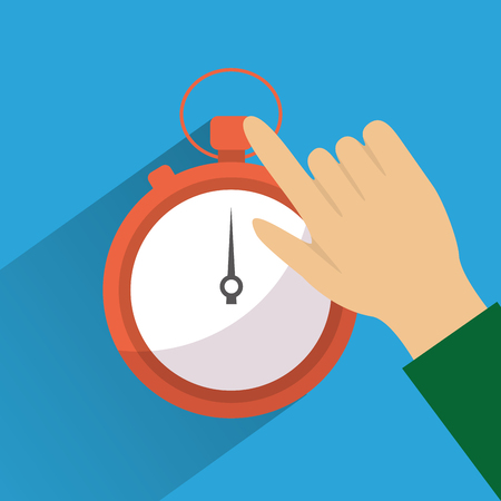 hand touch stopwatch clock time vector illustration Stock Vector - 93626541