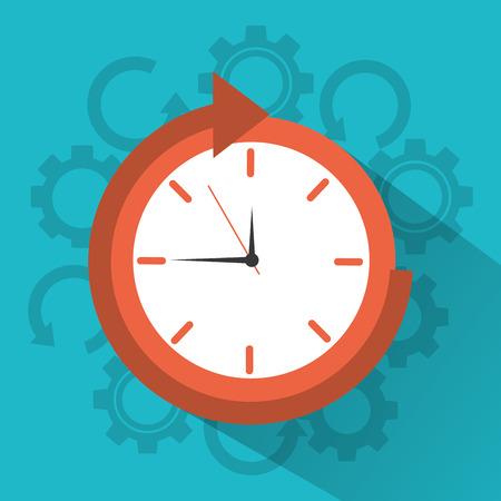 clock time around arrow concept vector illustration