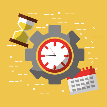 time work business calendar hour glass vector illustration Ilustração