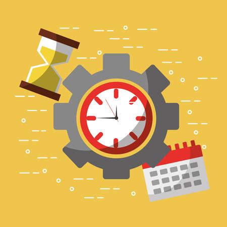 time work business calendar hour glass vector illustration Çizim