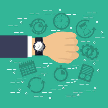 hand with wrist watch plan time service vector illustration
