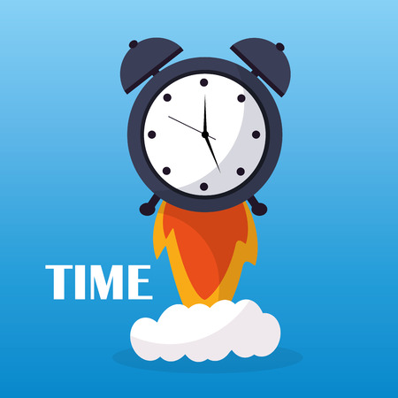 Time clock alarm start launch business vector illustration  イラスト・ベクター素材