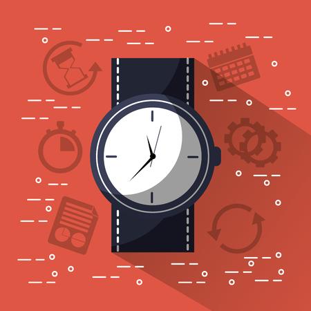Tijd ronde klok polshorloge jbusiness vectorillustratie Stock Illustratie