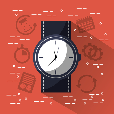Time round clock wrist watch jbusiness vector illustration