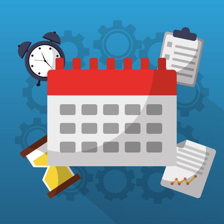 Time calendar alarm document work gears vector illustration