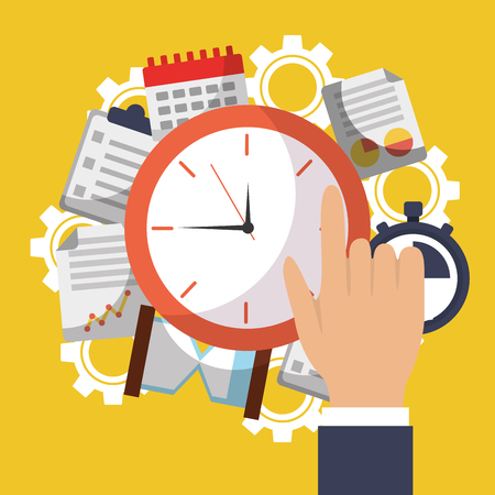 Time clock hand work office business vector illustration Ilustrace