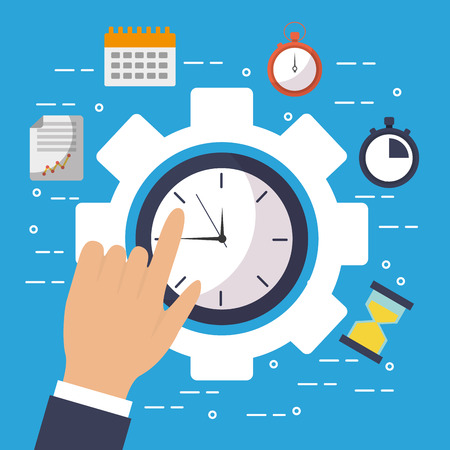 Hand touch clock time gear work business illustration