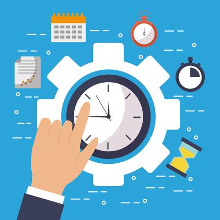 Mão, toque, relógio, tempo, engrenagem, trabalho, negócio, ilustração Foto de archivo - 93607321
