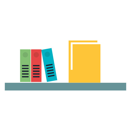 Shelf with folder and organizer books vector illustration design.