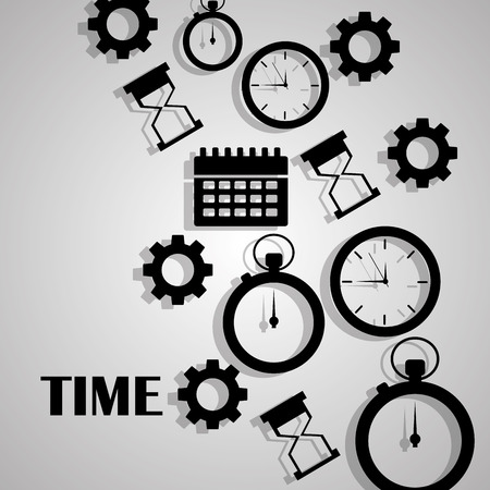 Collection of time clock hour plan service work vector illustration.