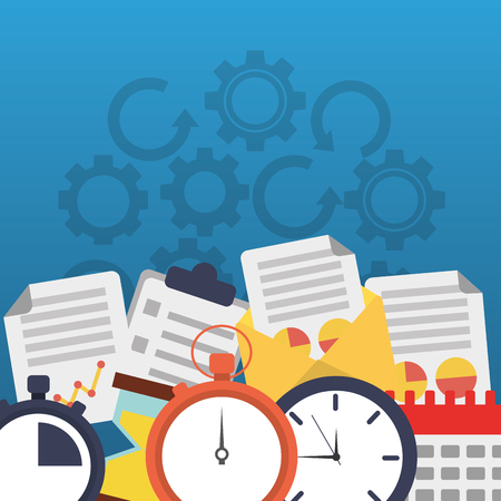 Time clock stopwatch office business work papers vector illustration. Illustration