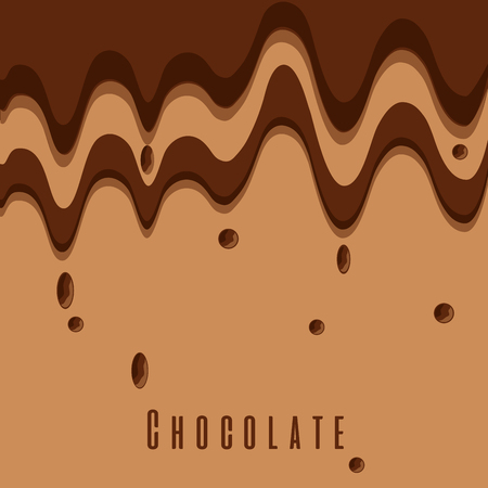 melted chocolate dripping sweet brown color vector illustration