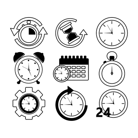 Collection time clock hour plan service work Stock Vector - 93607323