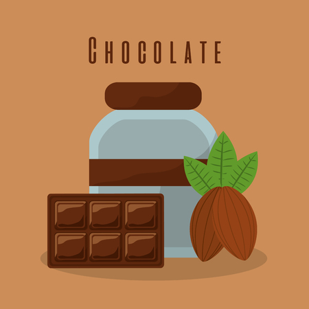 chocolate bar and bottle cream cocoa vector illustration
