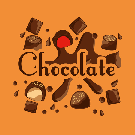 chocolate candy sweet bar drops card vector illustration Illustration