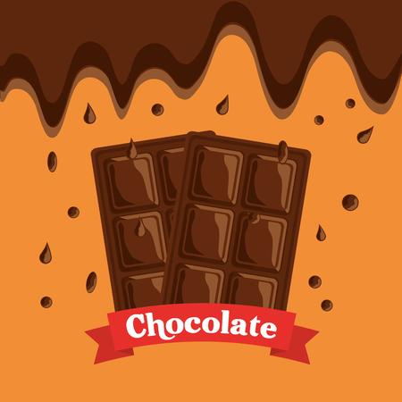 melted chocolate bars drops dessert banner vector illustration