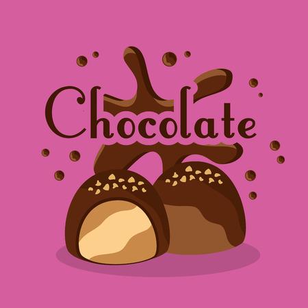 chocolate candies cream chips sugar vector illustration