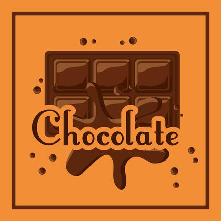 Barra de chocolate derretida cai ilustração em vetor cartaz de cacau Foto de archivo - 93608871