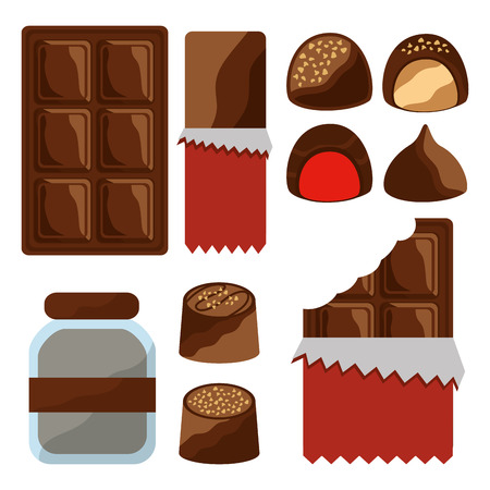 chocolate set icons cocoa food sweet vector illustration Illustration