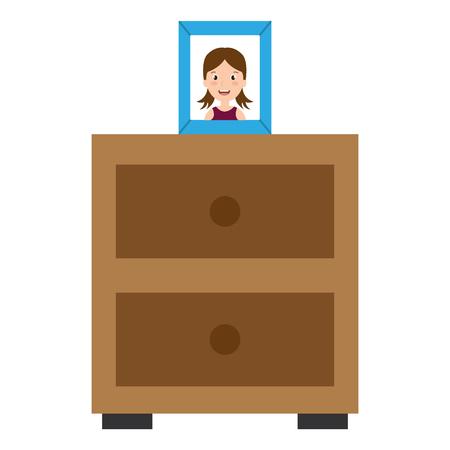 bedroom drawer with portrait vector illustration design Illustration