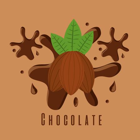 chocolate cocoa ingredient sugar splash vector illustration