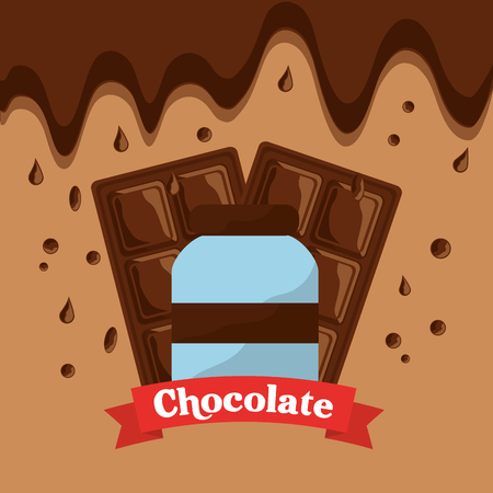 chocolate bottle bar and melted drops vector illustration Illustration