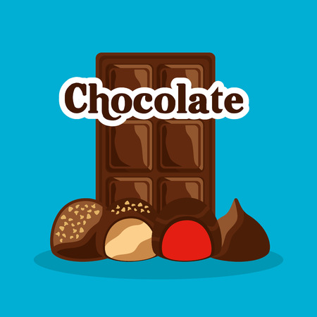 chocolate bar and candies with cream chips vector illustration Illustration