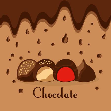 Chocolate candy drops melted dessert card vector illustration Ilustração