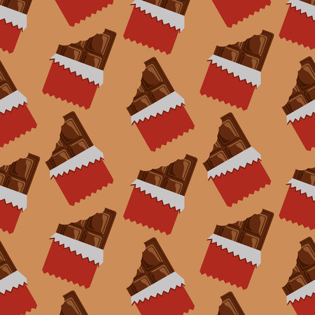 Chocolate bars bitten package seamless pattern vector illustration