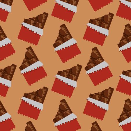 Chocolate bars bitten package seamless pattern vector illustration Stock Vector - 93607513