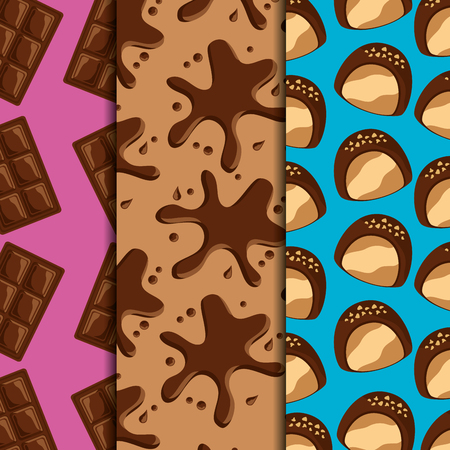 Sweets dessert food chocolate bars and splash drips candies vertical banners vector illustration Иллюстрация