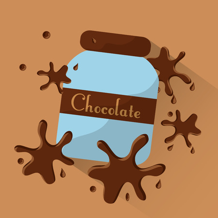Chocolate jar food splashes poster dessert vector illustration