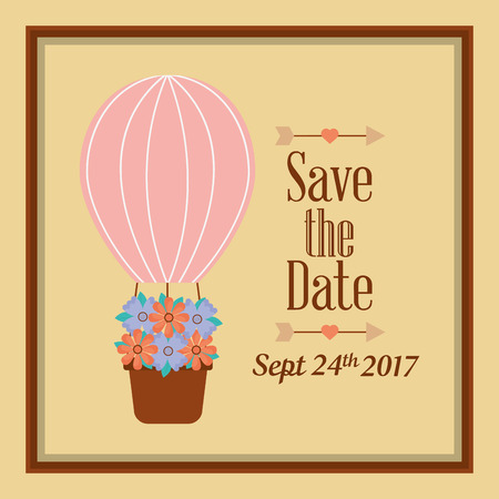 Save the date airballoon flowers celebration card vector illustration