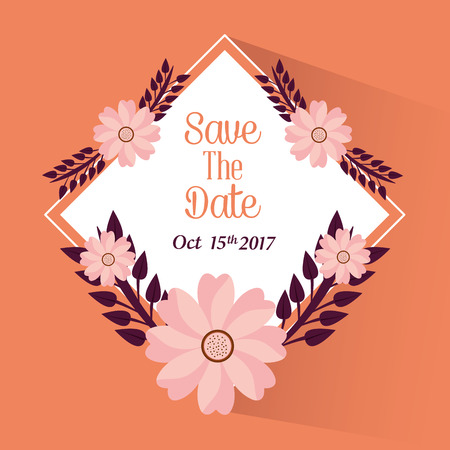 Save the date flowers leaves party celebration vector illustration Illustration