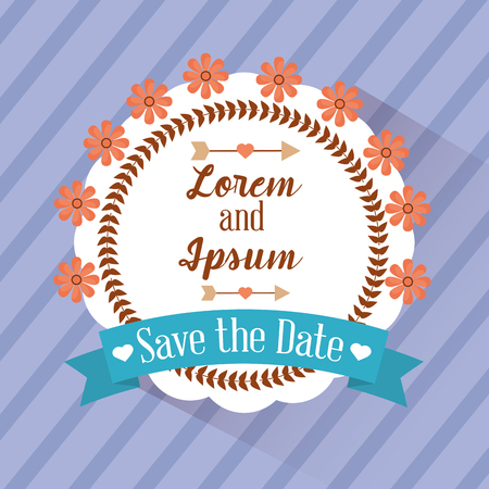 Save the date badge flower stripes background vector illustration