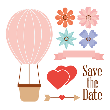Save the date balloon basket hearts flowers and arrow vector illustration.
