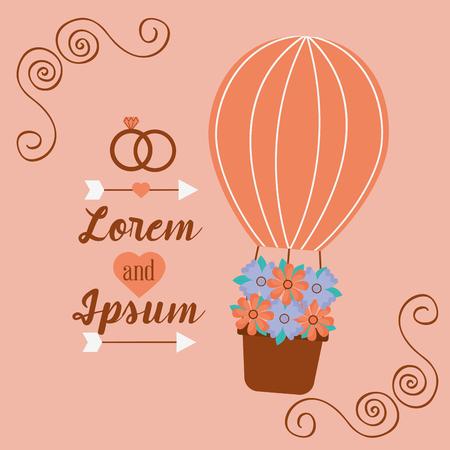 ロマンチックなカードの結婚式の招待風船バスケットの花ベクトルイラスト。