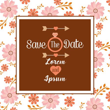 Save the date invitation wedding, birthday or anniversary vector illustration