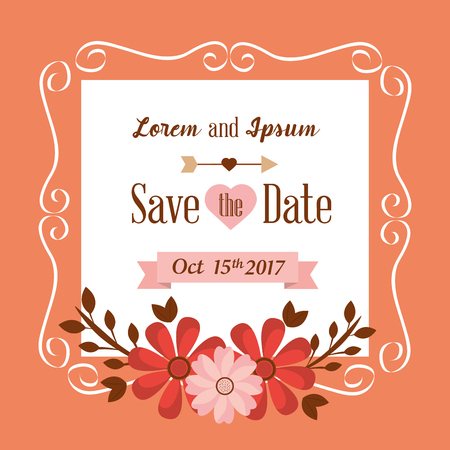 Save the date flowers frame decoration vintage vector illustration Illustration