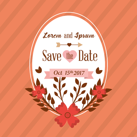 Save the date card greeting wedding floral decoration vector illustration