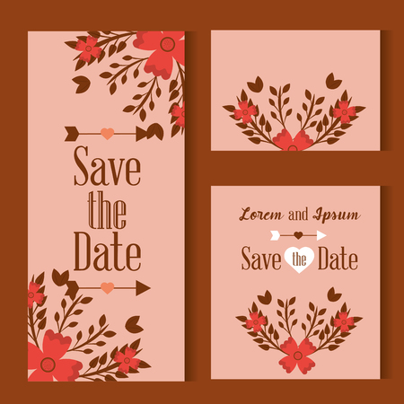 Three cards save the date decorated with flowers leaves on pink background vector illustration
