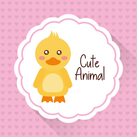 Cute animal baby duck cartoon hearts background vector illustration