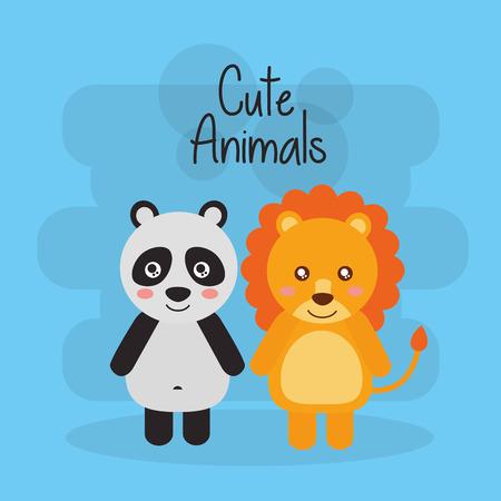 Two cute animals lion and panda bear friendly vector illustration Ilustração